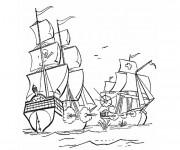 Coloriage et dessins gratuit Bataille contre le Bateau de pirates à imprimer