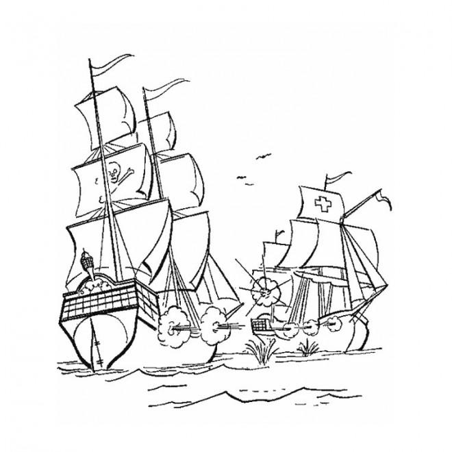 Coloriage et dessins gratuits Bataille contre le Bateau de pirates à imprimer