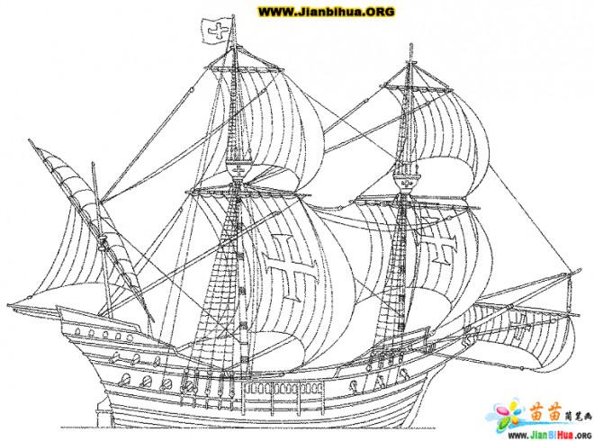 Coloriage et dessins gratuits Bateau à voiles anglais à imprimer