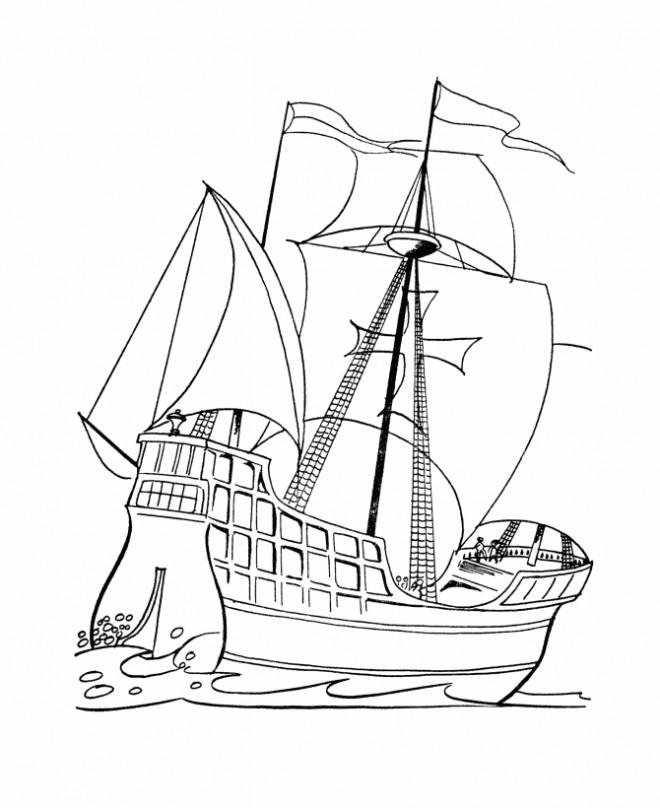 Coloriage et dessins gratuits Bateau à voiles de Guerre couleur à imprimer