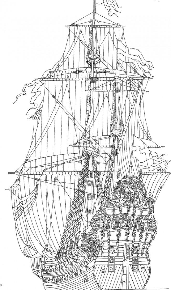 Coloriage et dessins gratuits Bateau à voiles militaire britannique à imprimer