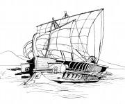 Coloriage et dessins gratuit Bateau de Guerre de L'Antiquité à imprimer