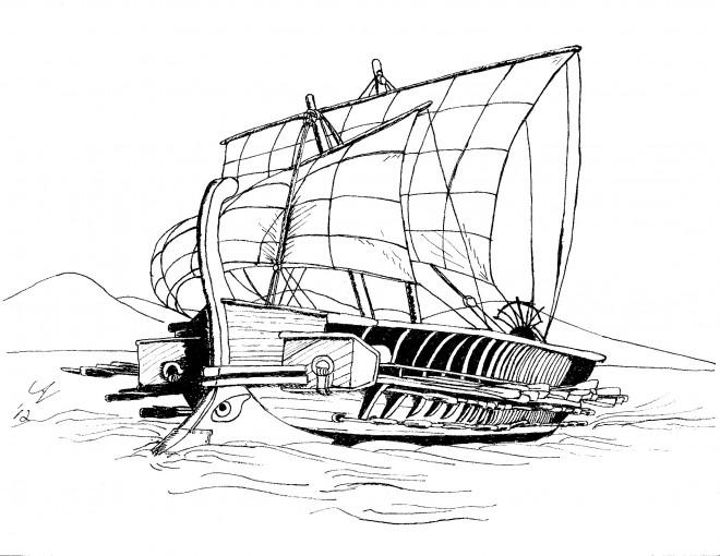 Coloriage et dessins gratuits Bateau de Guerre de L'Antiquité à imprimer