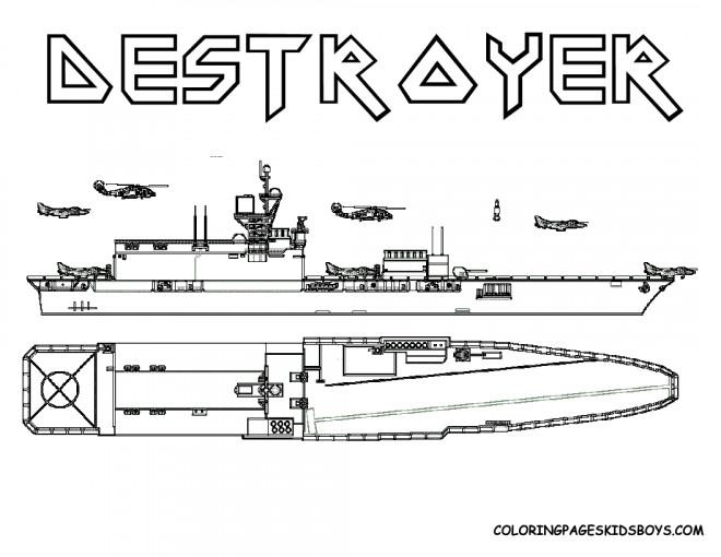Coloriage et dessins gratuits Bateau de Guerre Destroyer à imprimer