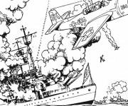 Coloriage et dessins gratuit Bateau de Guerre détruit à imprimer