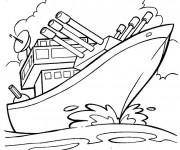 Coloriage et dessins gratuit Bateau de Guerre en mission à imprimer