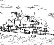 Coloriage et dessins gratuit Bateau de Guerre facile à imprimer