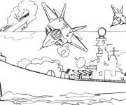 Coloriage et dessins gratuit Bateau de Guerre pendant La Bataille à imprimer