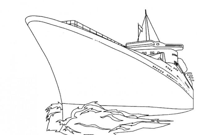 Coloriage et dessins gratuits Bateau de Guerre traverse La Mer à imprimer