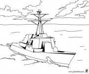 Coloriage et dessins gratuit Bateau de Guerre vecteur à imprimer