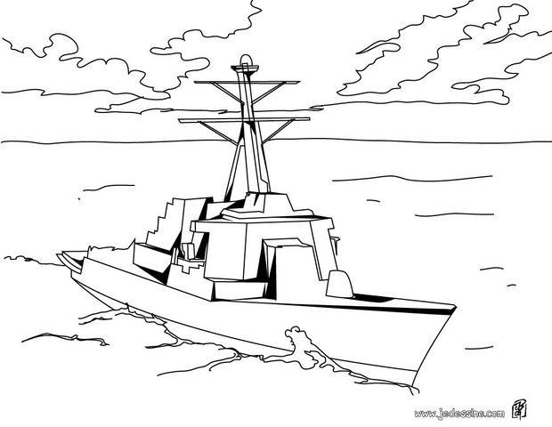 Coloriage et dessins gratuits Bateau de Guerre vecteur à imprimer