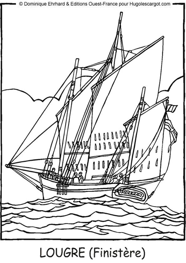 Coloriage et dessins gratuits Bateau de Pirate à Voile à imprimer