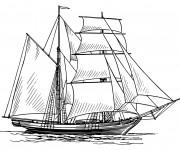 Coloriage et dessins gratuit Bateau de Pirate en Ligne à imprimer