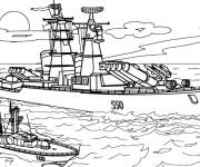 Coloriage et dessins gratuit Bateau militaire à imprimer