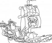 Coloriage et dessins gratuit Bateau Pirate dessin animé à imprimer