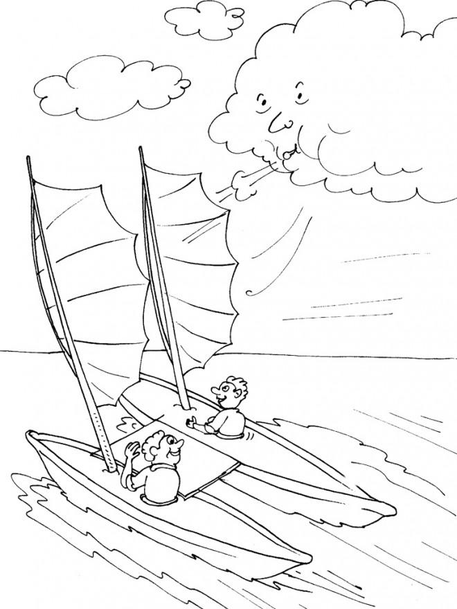 Coloriage et dessins gratuits Le  voilier et Le Vent à imprimer
