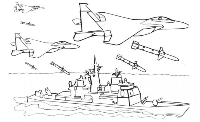 Coloriage et dessins gratuits Les Avions sur Un Bateau de Guerre à imprimer