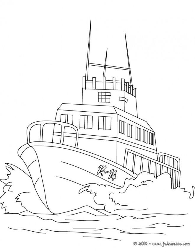 Coloriage et dessins gratuits Navire de garde-côte à imprimer