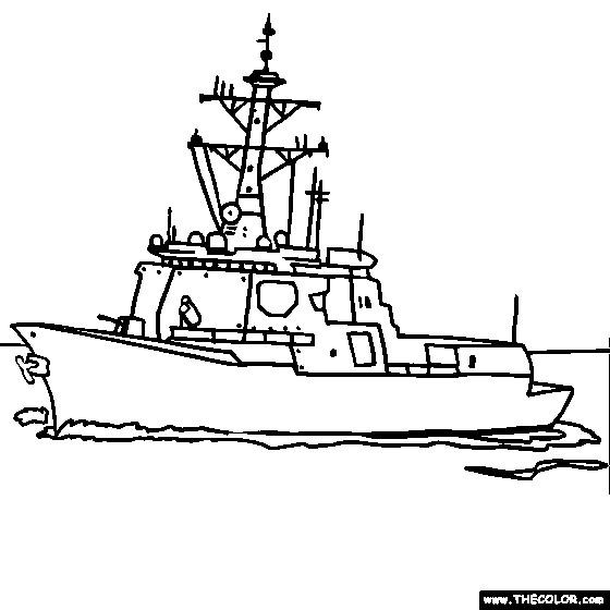 Coloriage et dessins gratuits Navire de Guerre en noir et blanc à imprimer