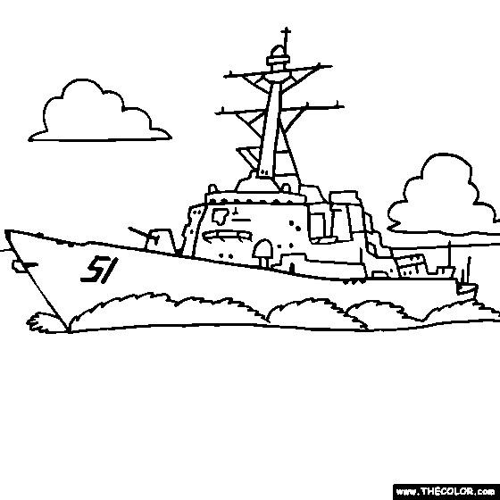 Coloriage et dessins gratuits Navire de Guerre facile à imprimer