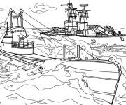 Coloriage et dessins gratuit Sous-marin et Bateau de Guerre à imprimer