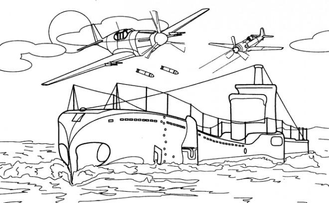 Coloriage et dessins gratuits Un Sous-Marin en Deuxième Guerre Mondiale à imprimer