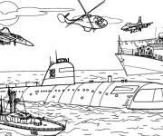 Coloriage Véhicule de guerre maritime