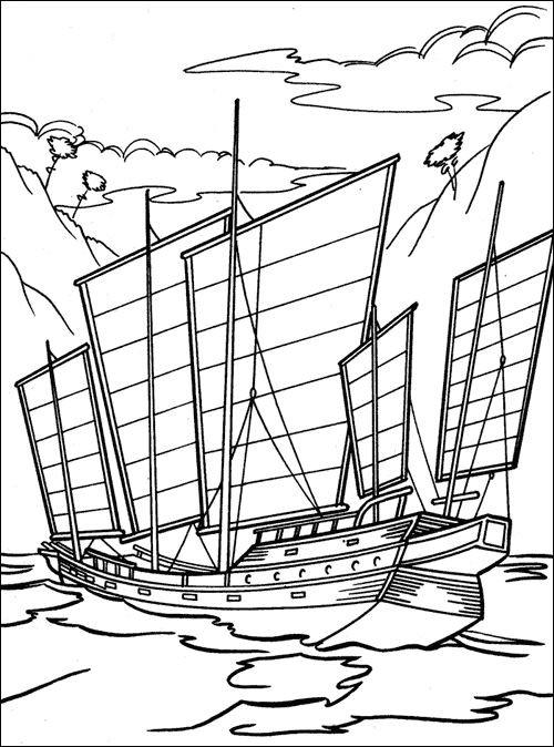 Coloriage Voilier militaire ancien dessin gratuit à imprimer