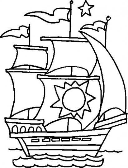 Coloriage et dessins gratuits Ancien Bateau à voile à imprimer