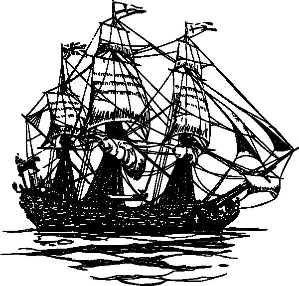 Coloriage et dessins gratuits Ancien Bateau de Pirate en noir à imprimer