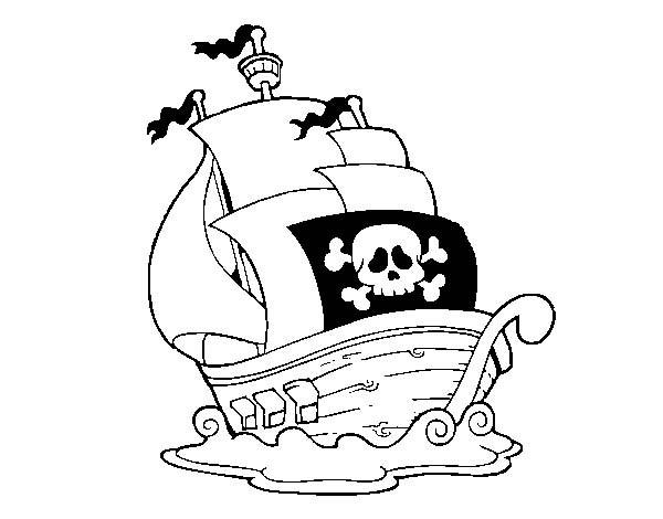Coloriage et dessins gratuits Bateau avec grand drapeau de pirate à imprimer