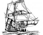 Coloriage Bateau de Pirate des Caraïbes