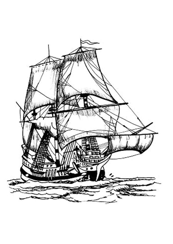 Coloriage Bateau De Pirate Des Caraïbes Dessin Gratuit à