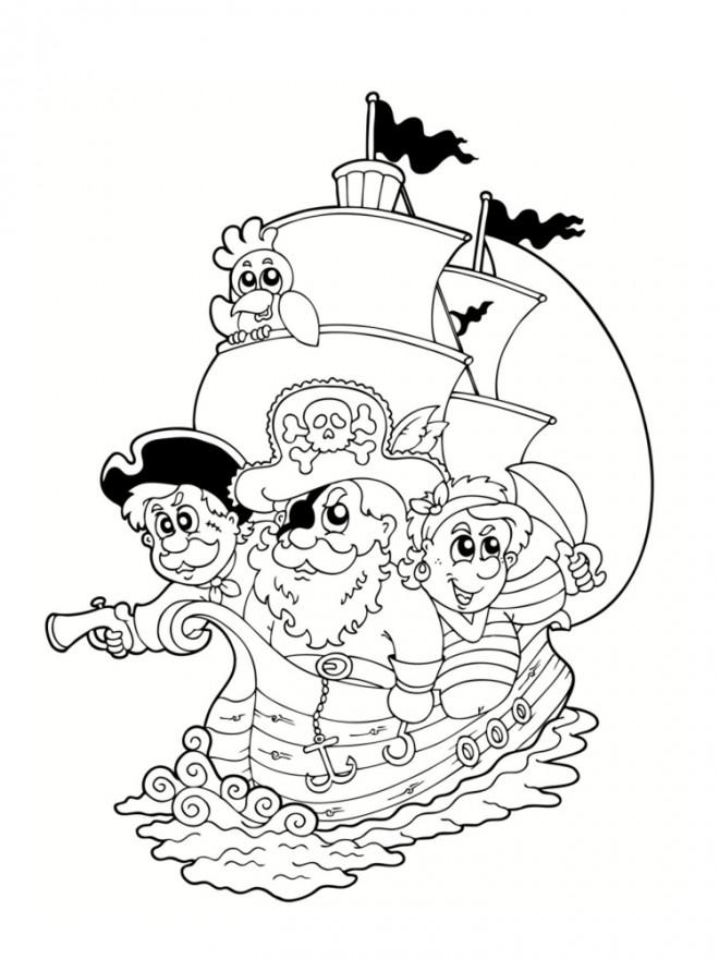 Coloriage et dessins gratuits Bateau de Pirate dessin animé à imprimer