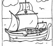 Coloriage Bateau de pirate en bois