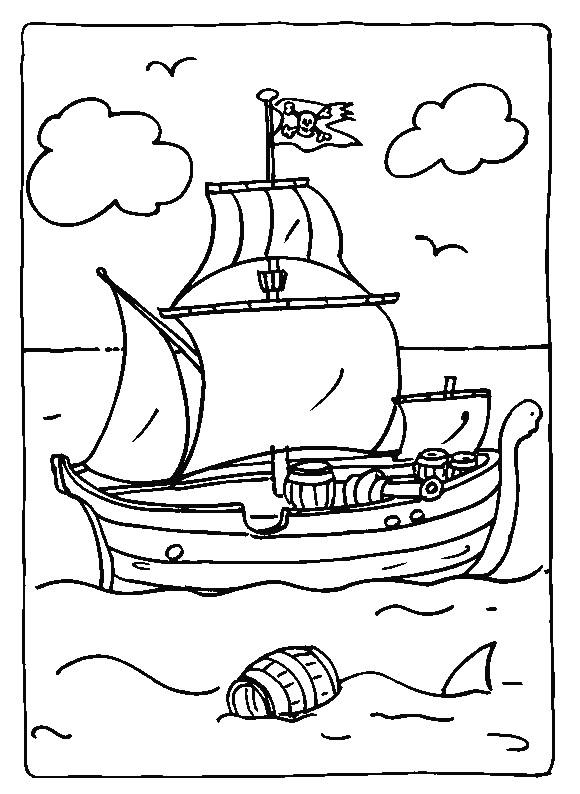 Coloriage et dessins gratuits Bateau de pirate en bois à imprimer