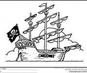 Coloriage Bateau de Pirate maternelle