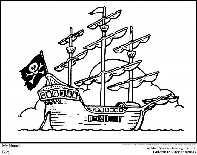 Coloriage bateau de pirate maternelle dessin gratuit - Coloriage bateau de pirate ...