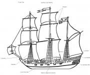 Coloriage Bateau de Pirate stylisé