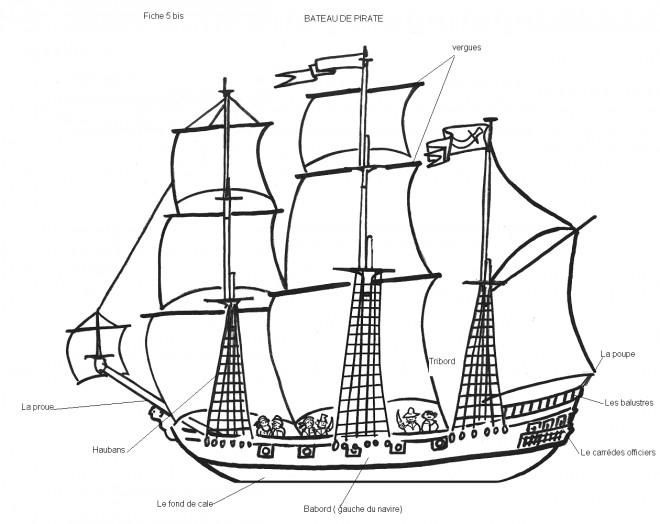 Coloriage Bateau de Pirate stylisé dessin gratuit à imprimer