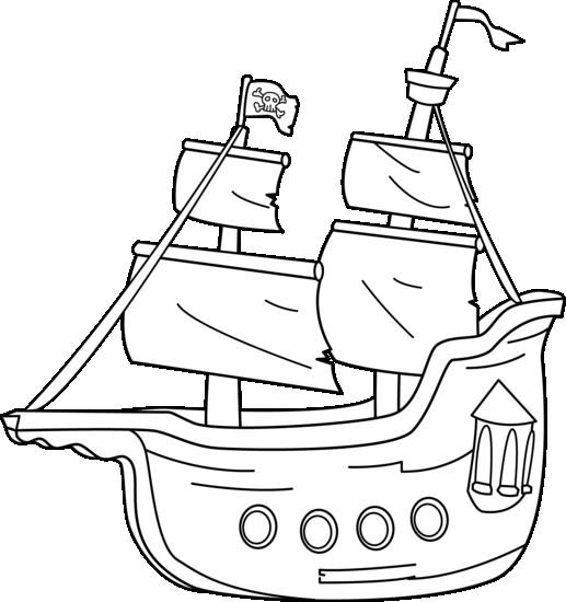 Coloriage Bateau De Pirate Vecteur En Couleur Dessin Gratuit A Imprimer