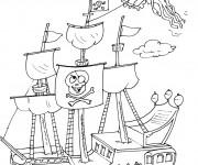 Coloriage Bateau de pirates humoristique