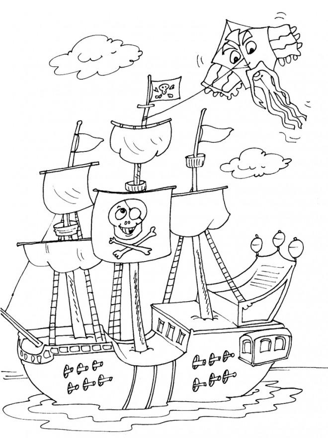Coloriage bateau de pirates humoristique dessin gratuit - Coloriage bateau a imprimer ...