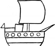 Coloriage Bateau de pirates vecteur