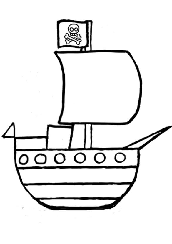 Coloriage bateau de pirates vecteur dessin gratuit imprimer - Dessin petit bateau ...