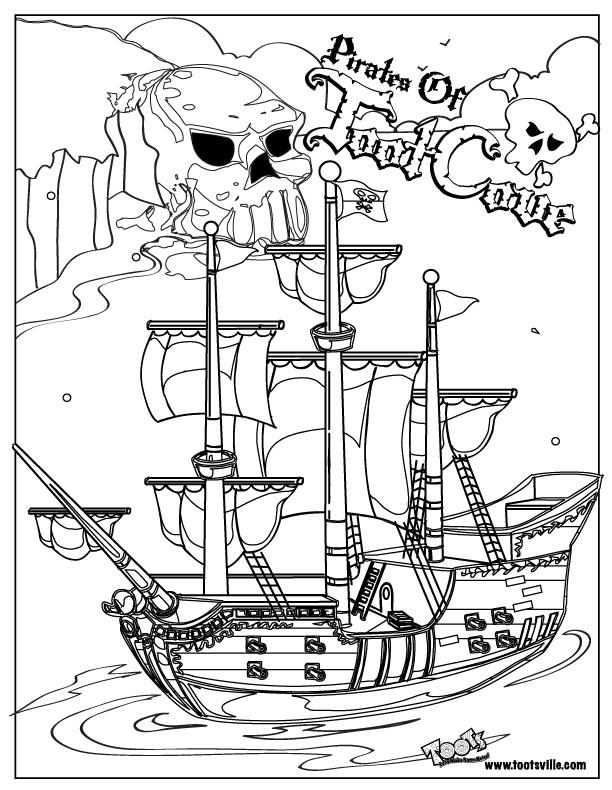 Coloriage et dessins gratuits Bateau et le symbole des pirates à imprimer
