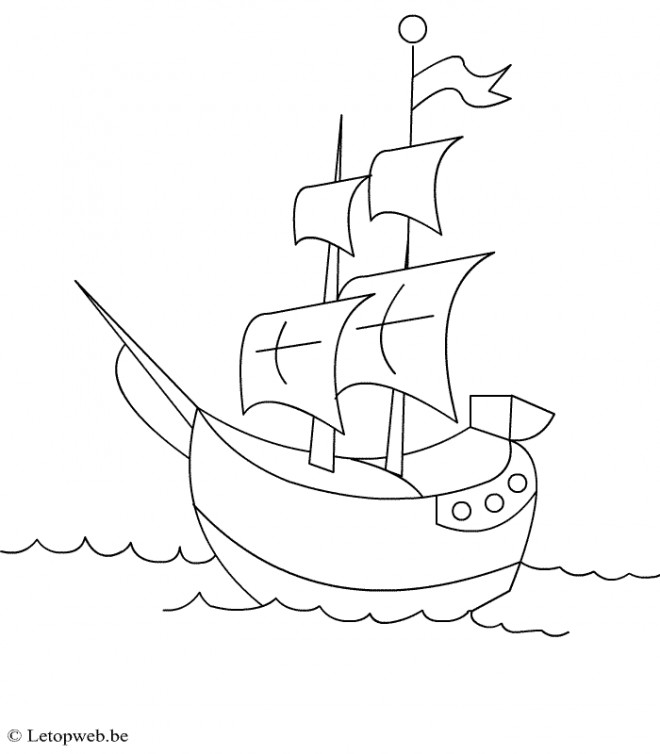 Coloriage et dessins gratuits Bateau Pirate à voile simplifié à imprimer