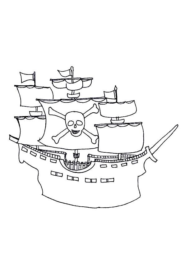 Coloriage et dessins gratuits Bateau Pirate au crayon à imprimer