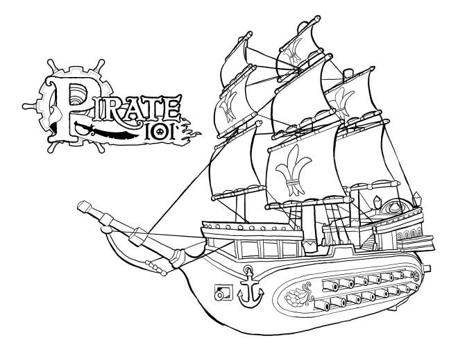 Coloriage et dessins gratuits Bateau Pirate avec canons à imprimer
