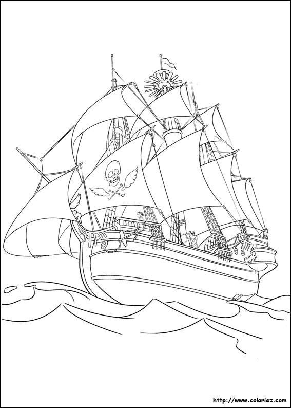 Coloriage et dessins gratuits Bateau Pirate dans l'océan à imprimer
